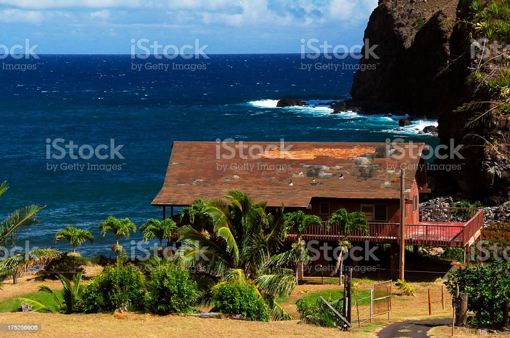 Maui Hawaii dilapidated ocean front home royalty-free stock photo