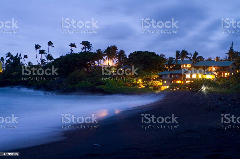 Maui Hawaii Hana Beach at Twilight stock photo