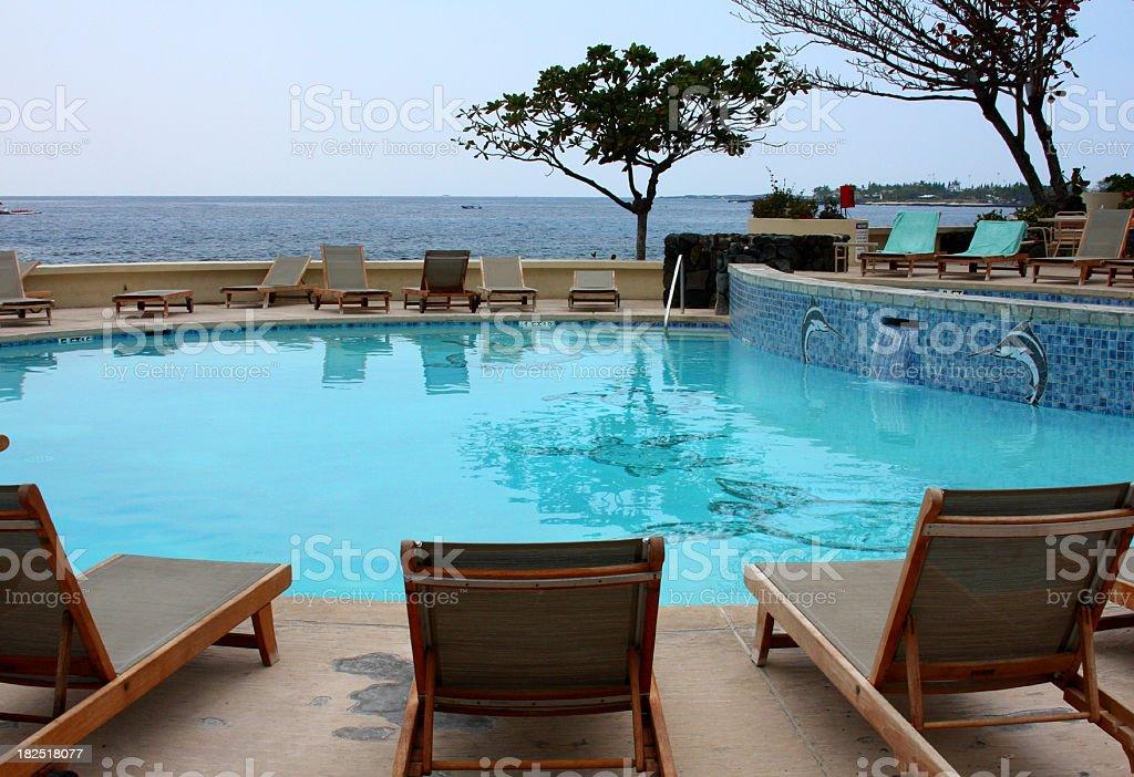 Maui Hawaii ocean front resort hotel swim pool royalty-free stock photo