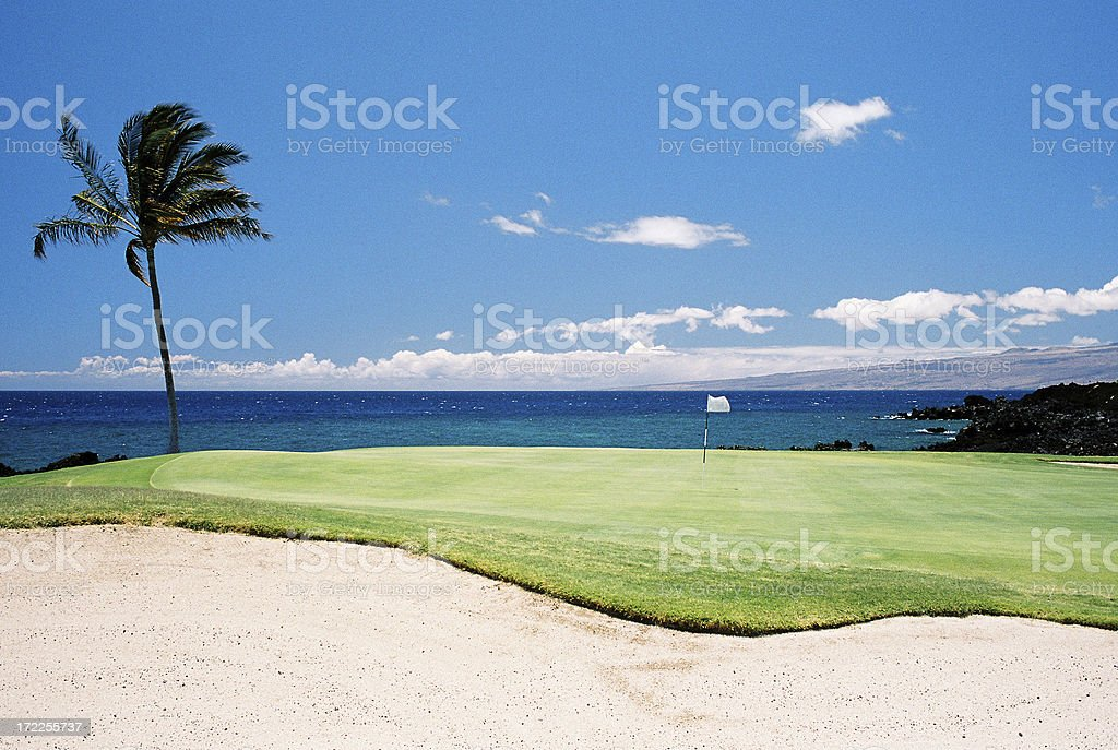 Maui Hawaii oceanfront resort hotel golf course hole royalty-free stock photo