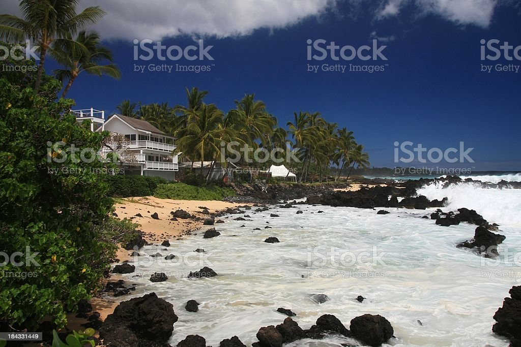 Maui Hawaii Pacific Ocean beach house scene stock photo