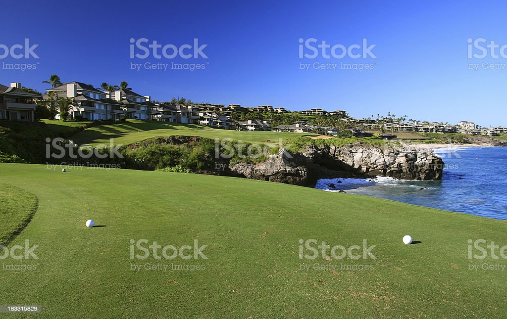 Maui, Hawaii Pacific ocean front resort hotel golf course tee stock photo