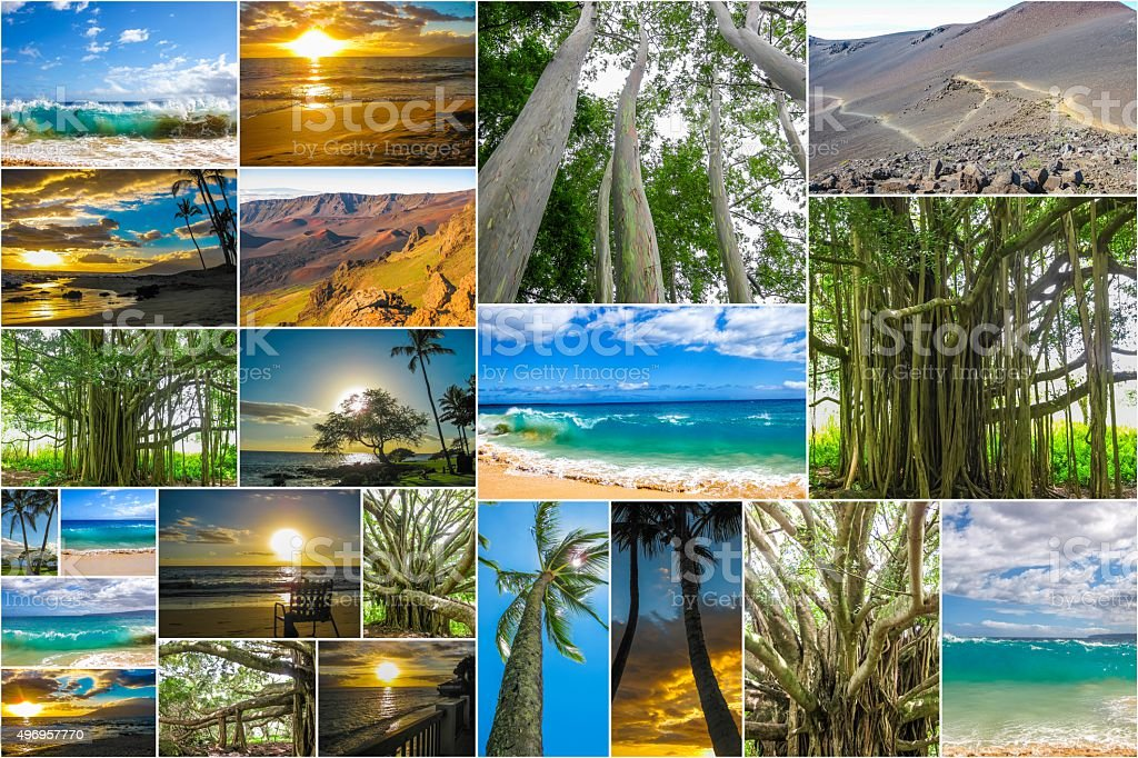 Maui Hawaii pictures collage stock photo