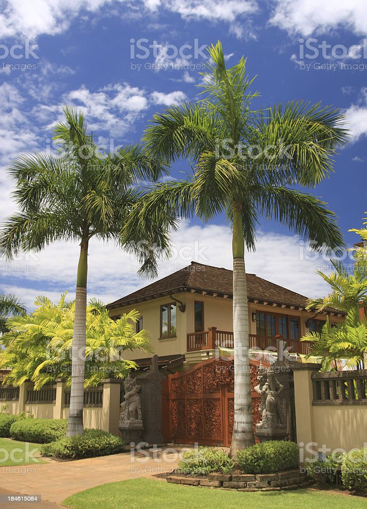 Maui Hawaii resort home palm tree scene stock photo