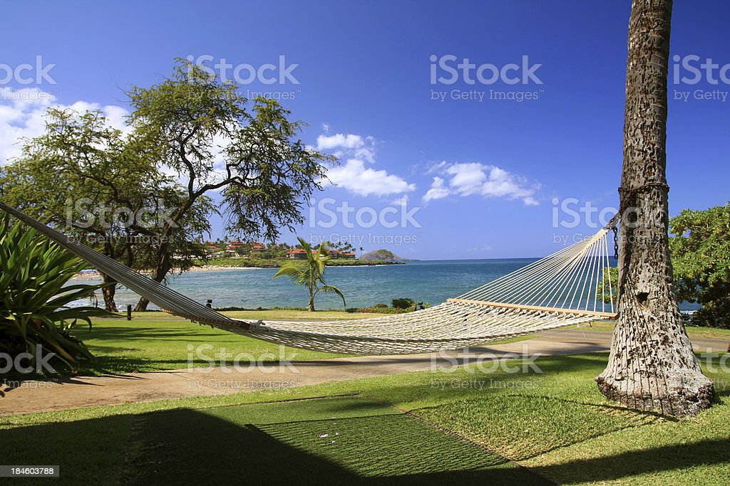 Maui Hawaii resort hotel hammock Pacific Ocean scenic royalty-free stock photo