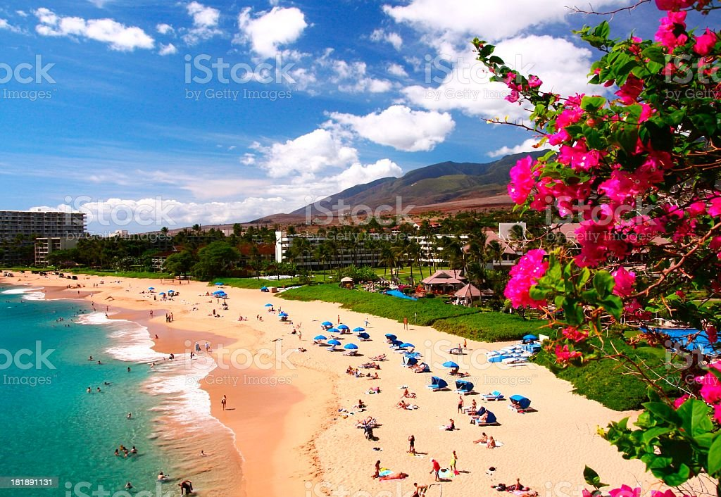 Maui Hawaii resort hotel Pacific ocean beach scenic stock photo