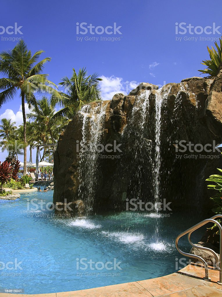 Maui Hawaii resort hotel waterfall and swimming pool royalty-free stock photo