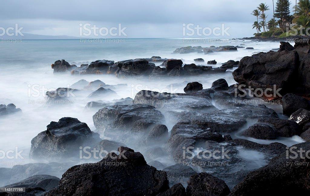 Maui Hawaii shoreline at Sunset stock photo