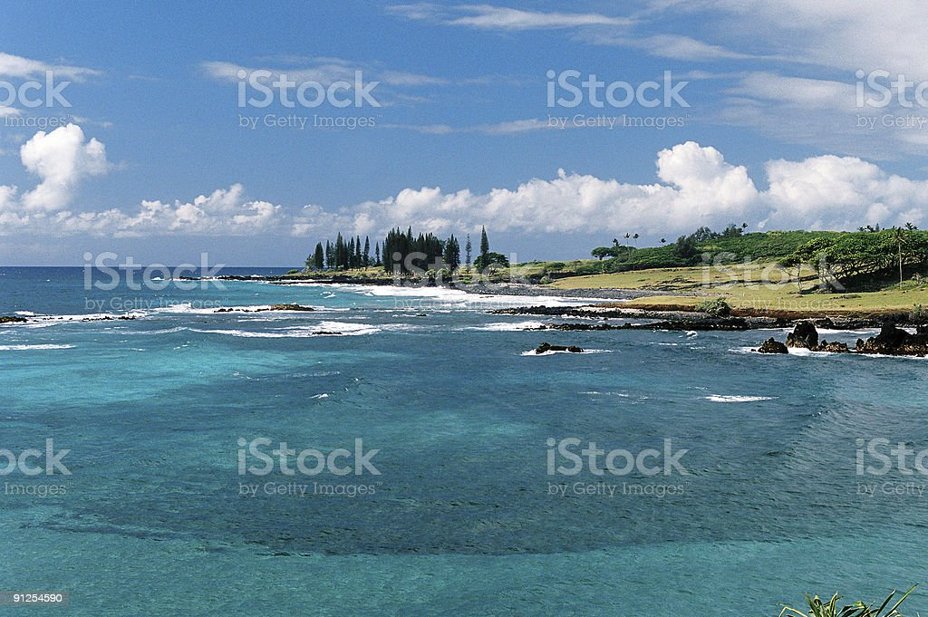 Maui Hawaii turquoise seascape Pacific ocean scenic stock photo
