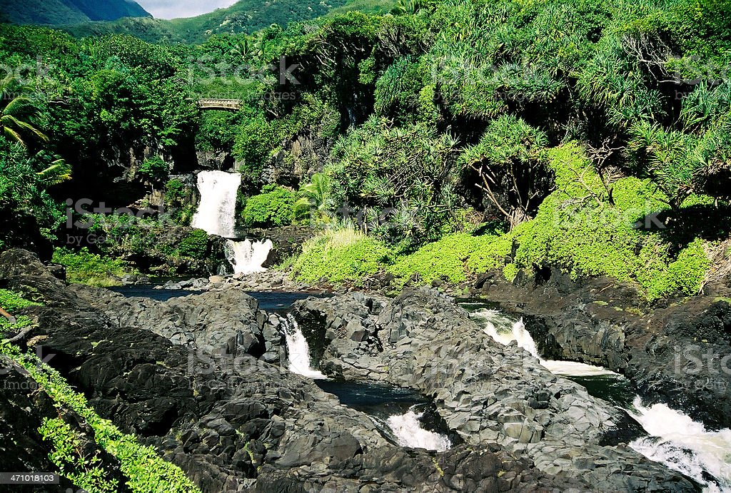 Maui Hawaii waterfall landscape scenic stock photo