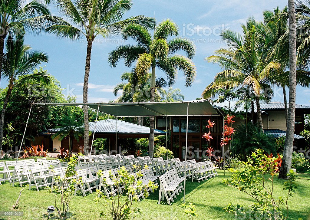 Maui Hawaii wedding site and tropical mansion royalty-free stock photo