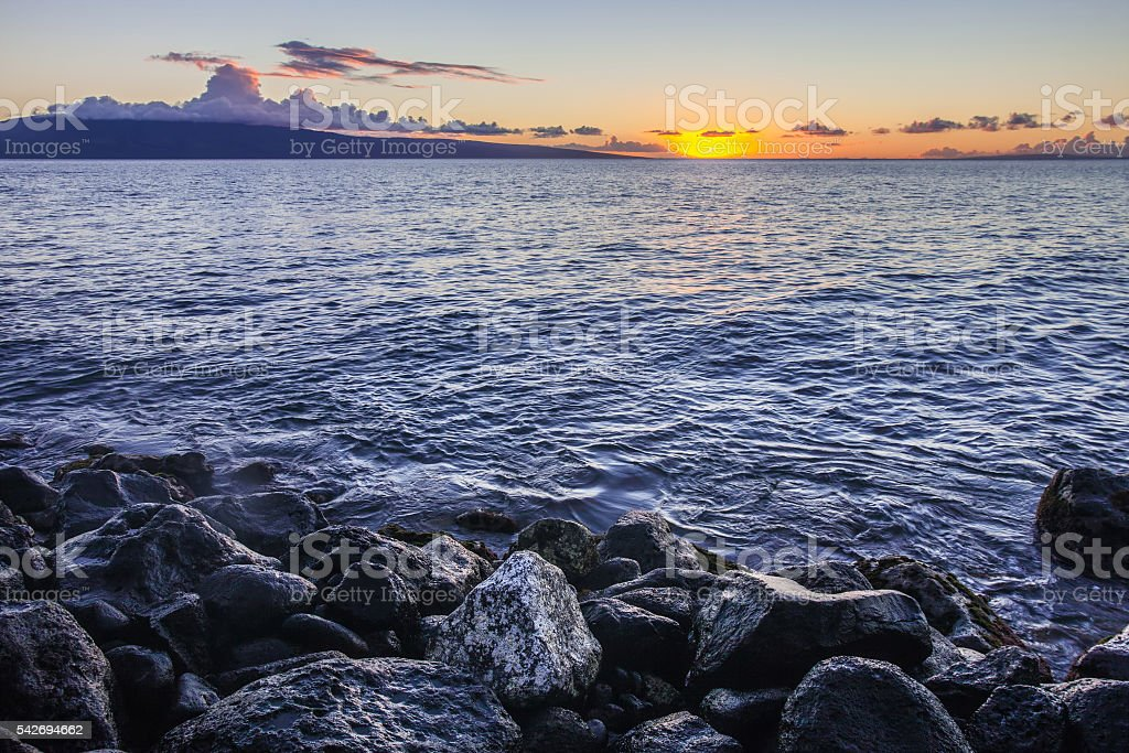Maui Sunset at Shore stock photo