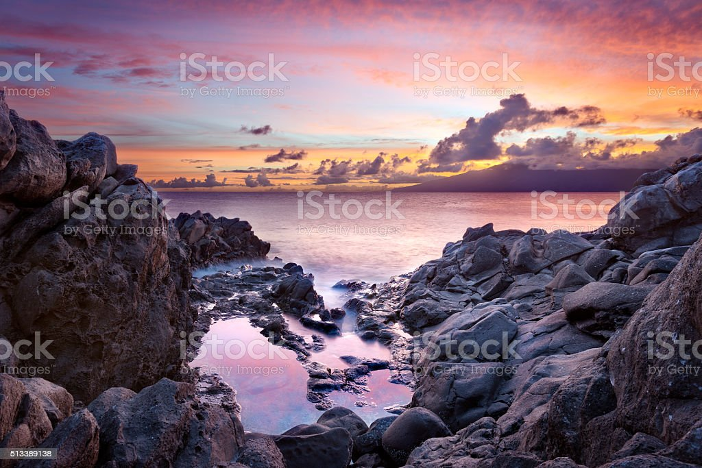 Maui Sunset stock photo