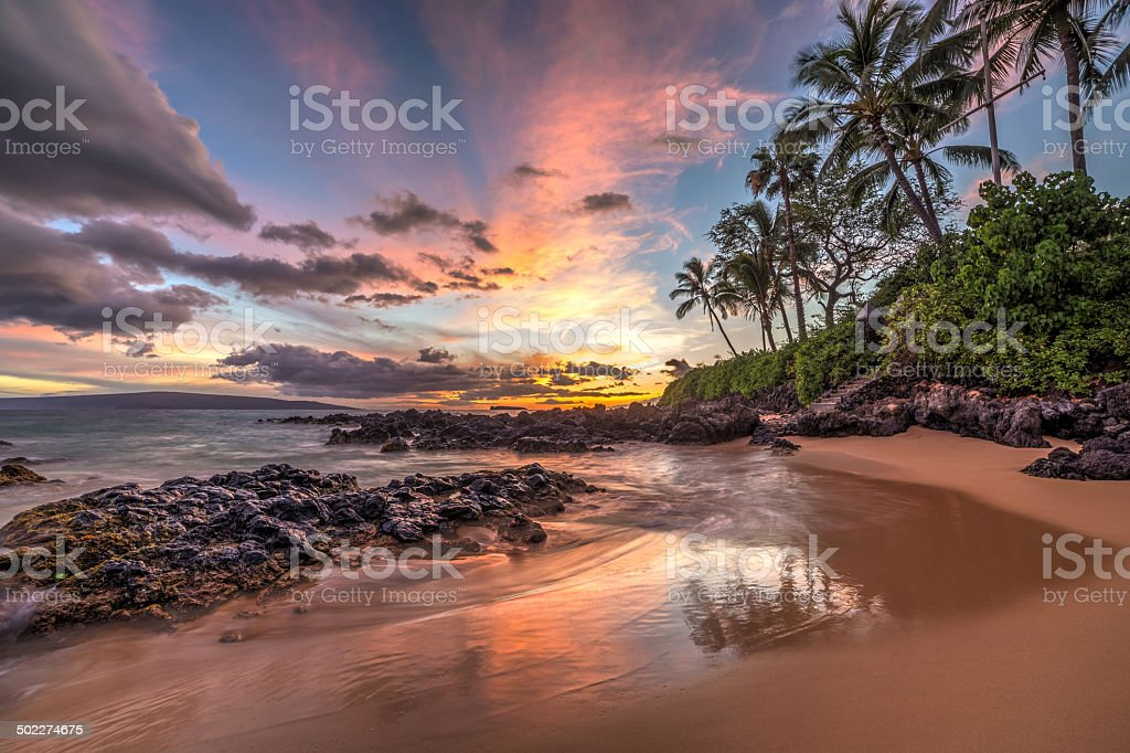 Maui sunset wonder stock photo