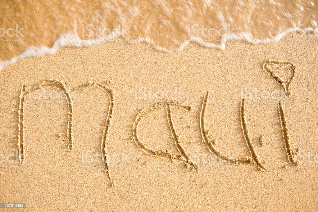 Maui Written In The Sand royalty-free stock photo