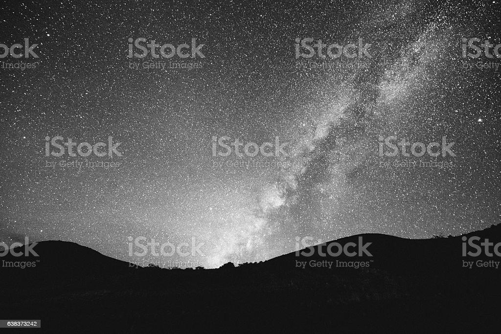 Mauna Kea Milky Way Night Sky Mountain Silhouette Kona Hawaii stock photo