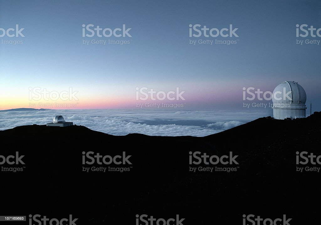 Mauna Kea observatories, Hawaii. stock photo