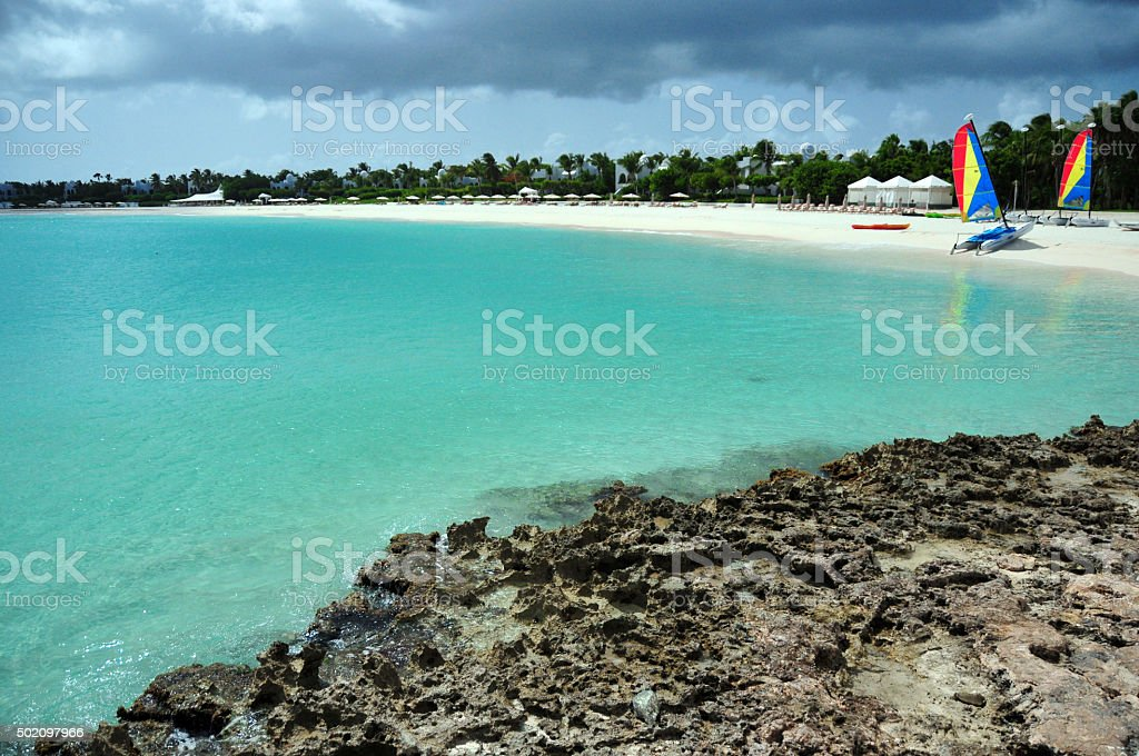 Maundays Bay beach, Juluca, West End Village, Anguilla stock photo