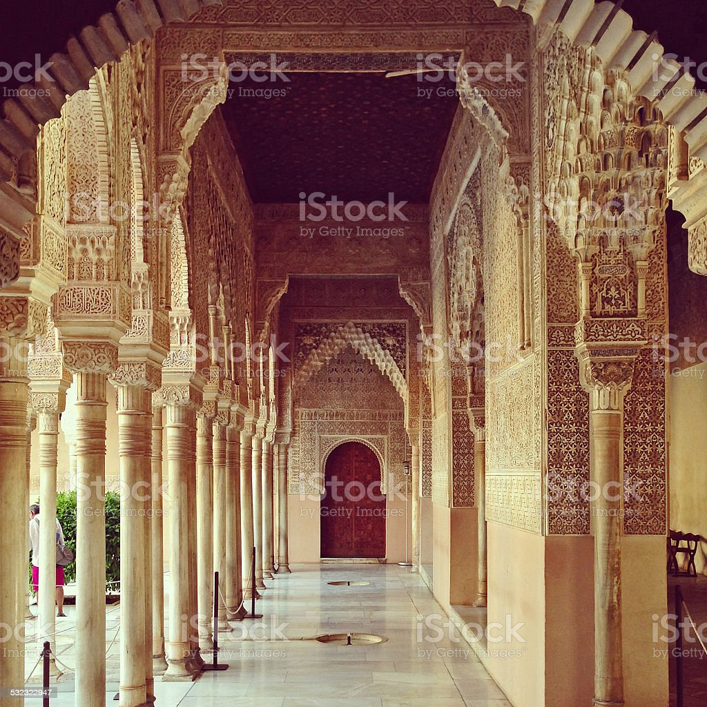 Mauresque hallway, Andalusia, Spain stock photo