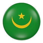 Mauritania button on white background