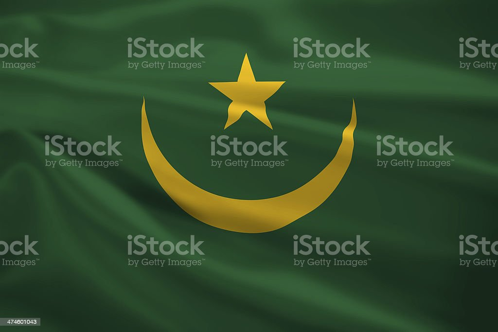 Mauritania flag blowing in the wind stock photo