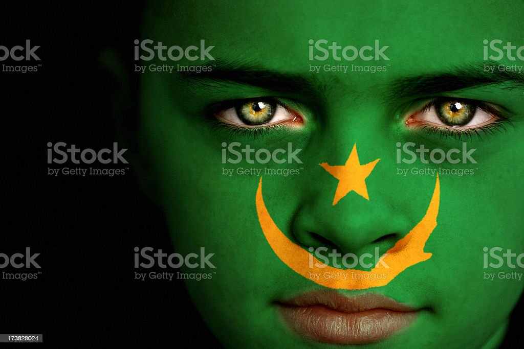 Mauritania flag boy stock photo