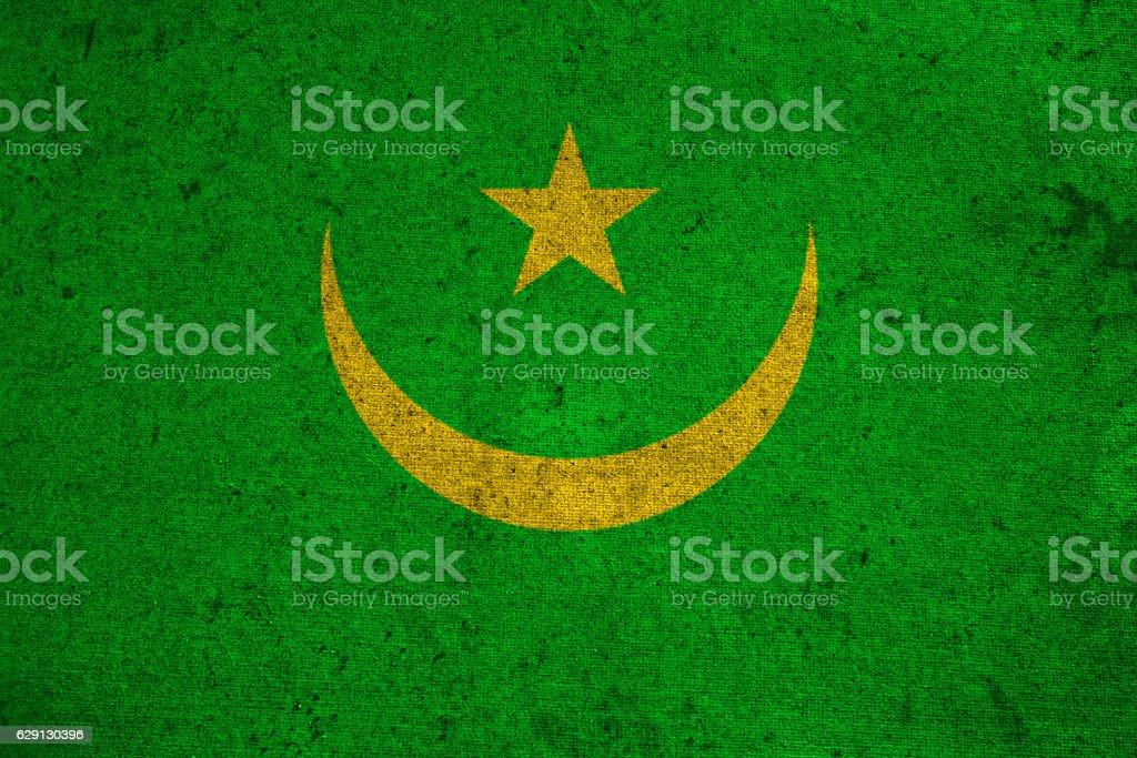 Mauritania flag on an old grunge background stock photo