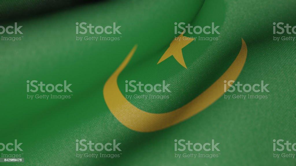 Mauritania Flag Realistic 3D Illustration stock photo