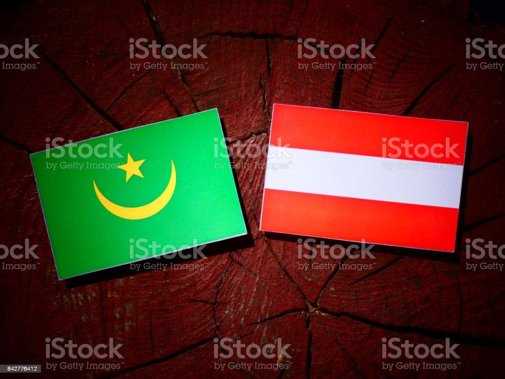 Mauritania flag with Austrian flag on a tree stump isolated stock photo