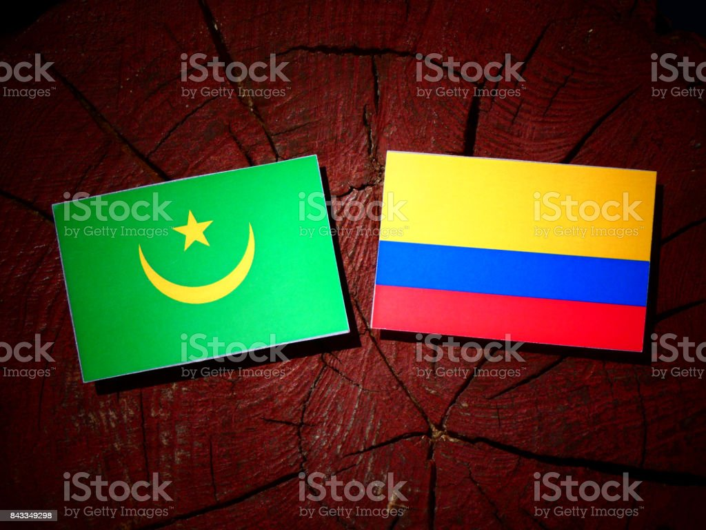 Mauritania flag with Colombian flag on a tree stump isolated stock photo