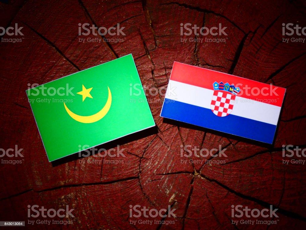 Mauritania flag with Croatian flag on a tree stump isolated stock photo