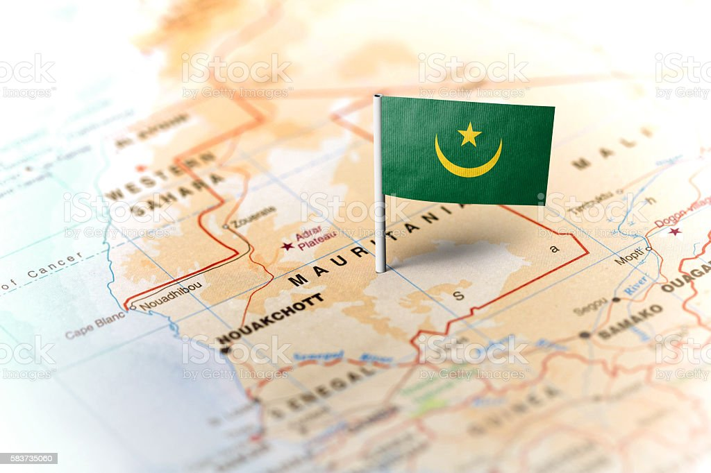 Mauritania pinned on the map with flag stock photo