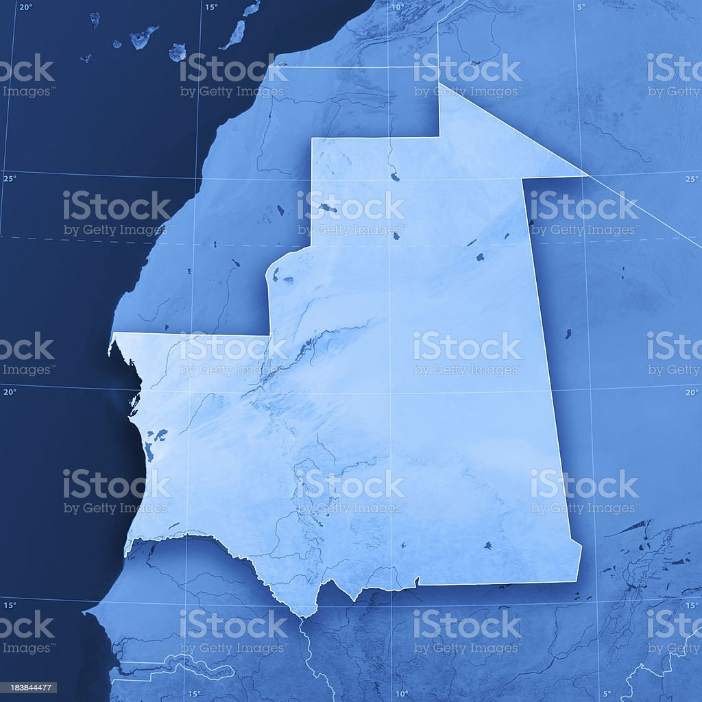Mauritania Topographic Map stock photo
