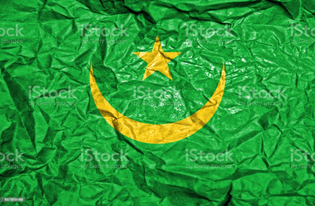 Mauritania vintage flag on old crumpled paper background stock photo