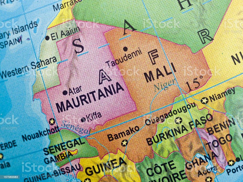 Mauritania-Mali Map royalty-free stock photo