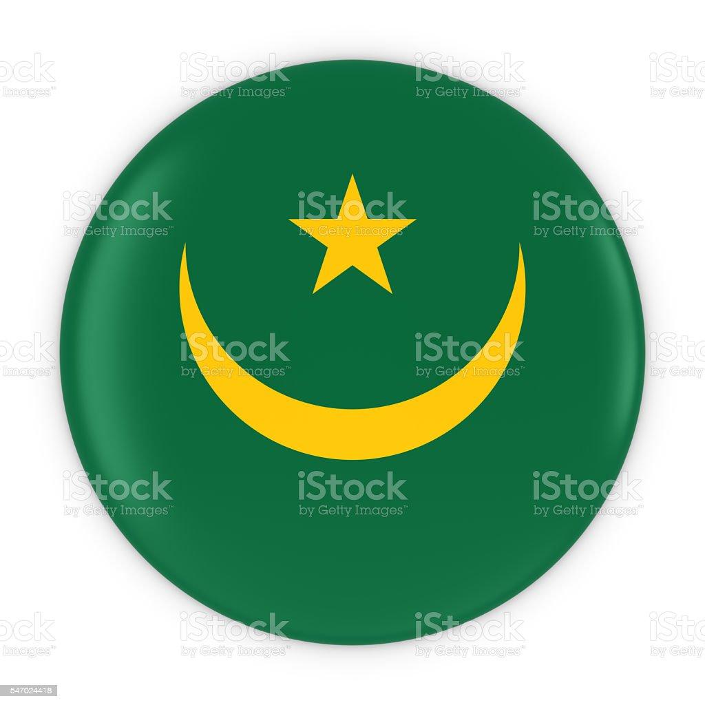 Mauritanian Flag Button - Flag of Mauritania Badge 3D Illustration stock photo