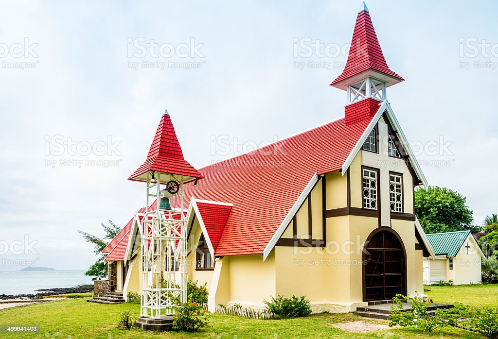 Mauritius Cap Malheureux Red Roof Church royalty-free stock photo