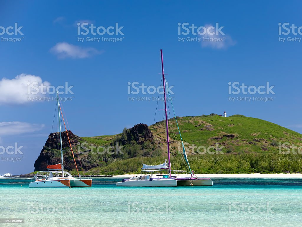 Mauritius. Catamarans near the island Gabriel stock photo