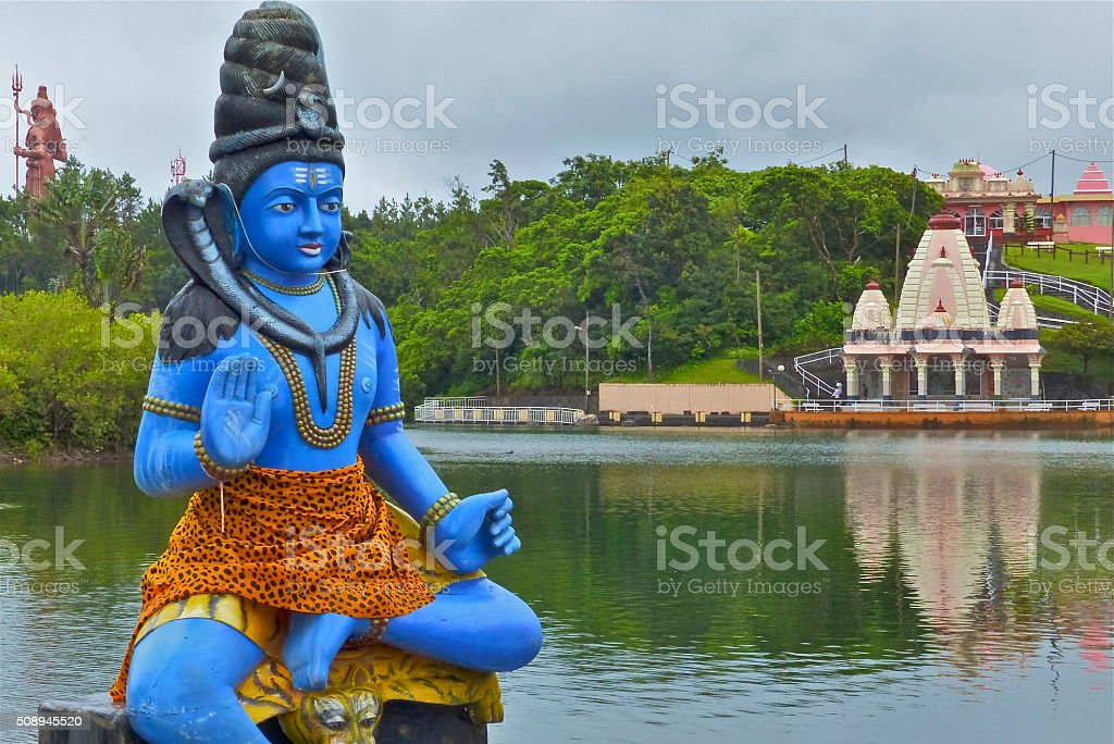 Ile Maurice- Grand Bassin, Shiva, statue stock photo