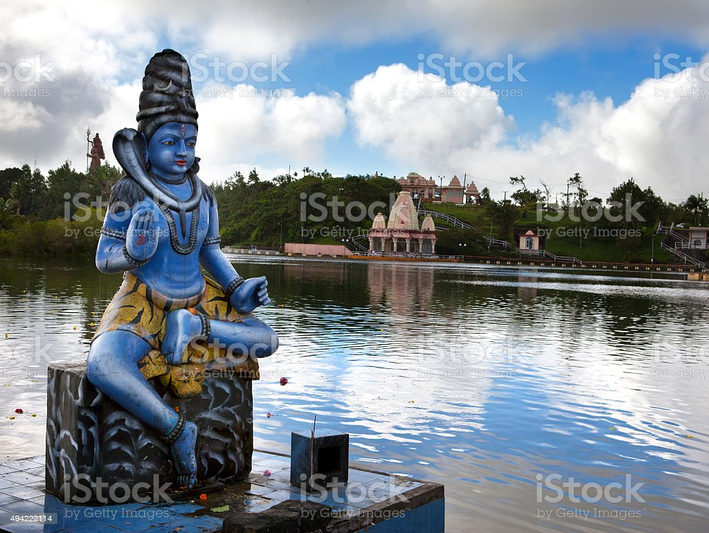 Mauritius. Shiva statue at lake Grand Bassin temple stock photo