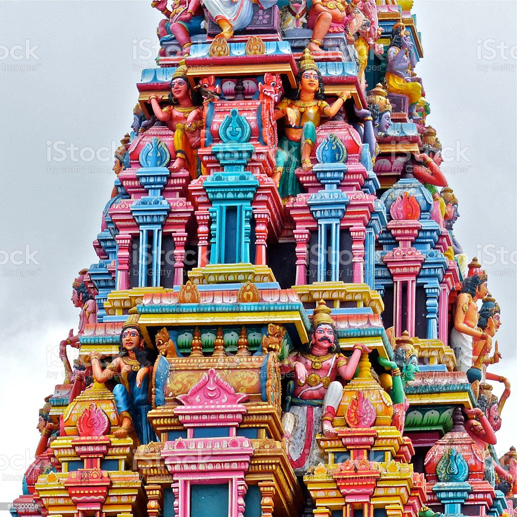 Ile Maurice, temple tamoul, architecture stock photo