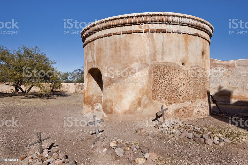 Mausoleum and Cemetery at Mission San Jose de Tumacacori stock photo