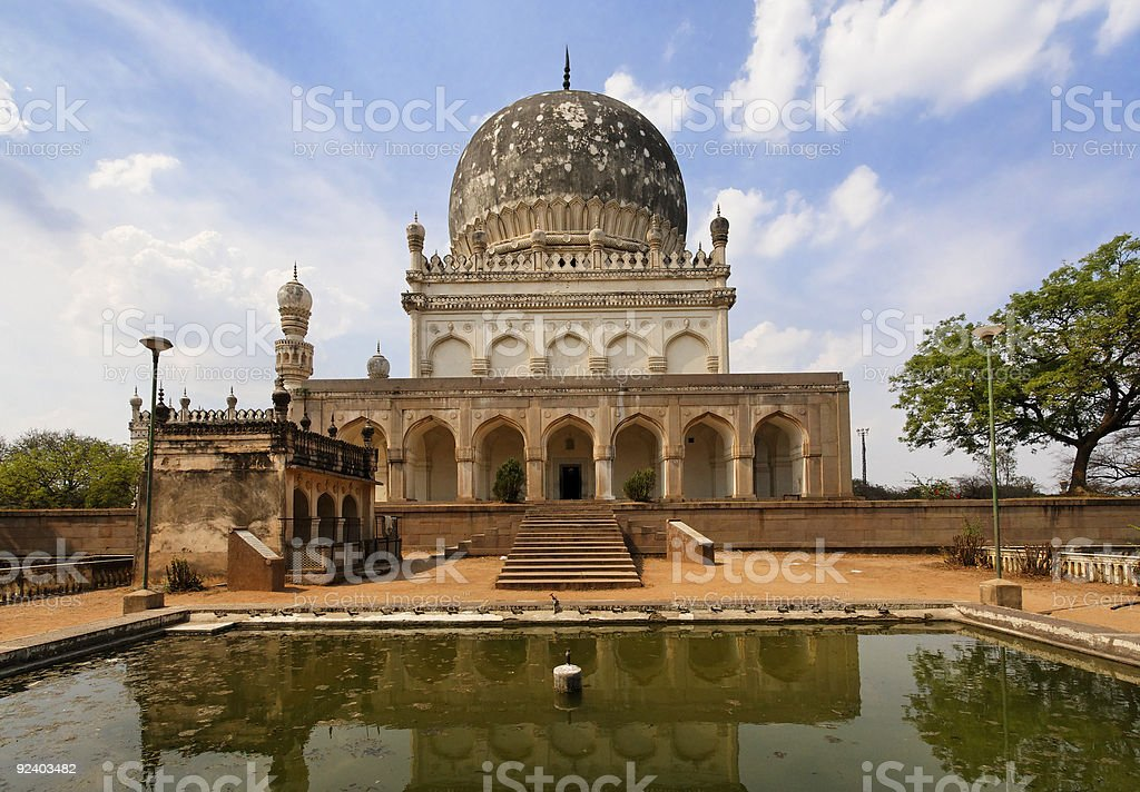 Mausoleum and Reflecting Pool with Mosque stock photo