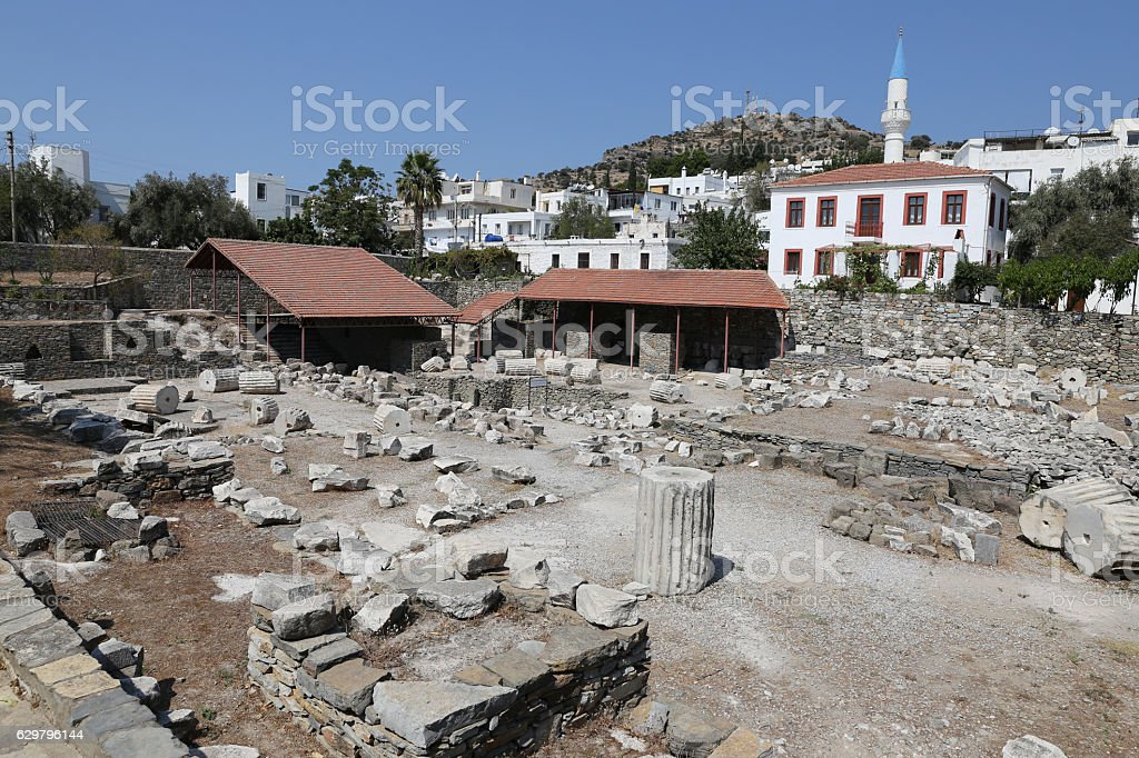 Mausoleum at Halicarnassus in Bodrum, Turkey stock photo