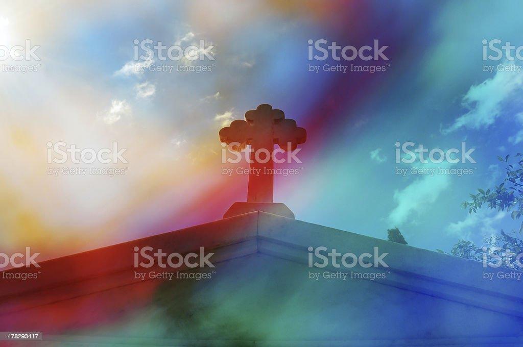 mausoleum cross abstract royalty-free stock photo