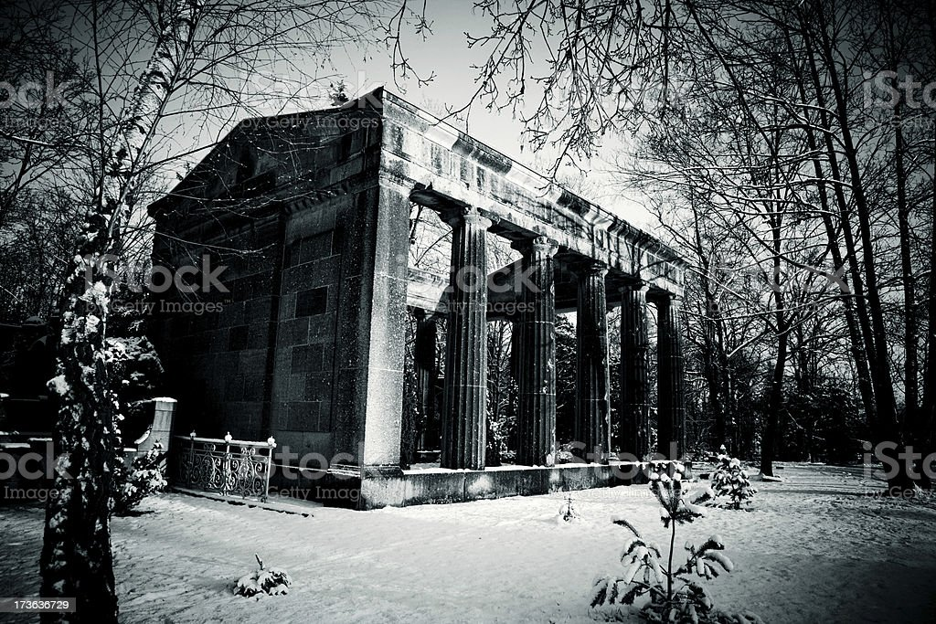mausoleum in cemetery stock photo