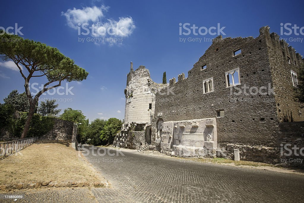 Mausoleum of Caecilia Metella on the Appian way stock photo