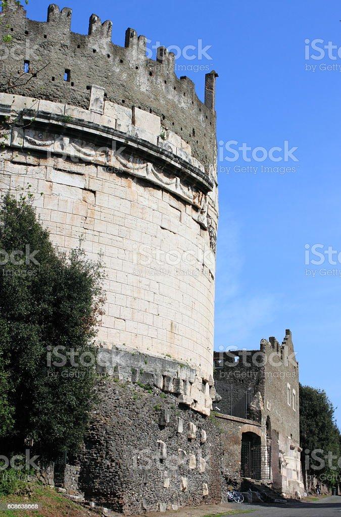 Mausoleum of Cecilia Metella stock photo