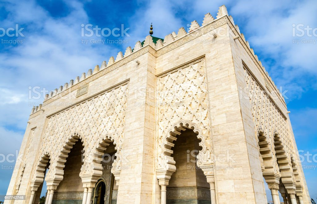 Mausoleum of Mohammed V, a historical building in  Rabat, Morocco. It contains the tombs of the Moroccan king and his two sons, late King Hassan II and Prince Abdallah stock photo