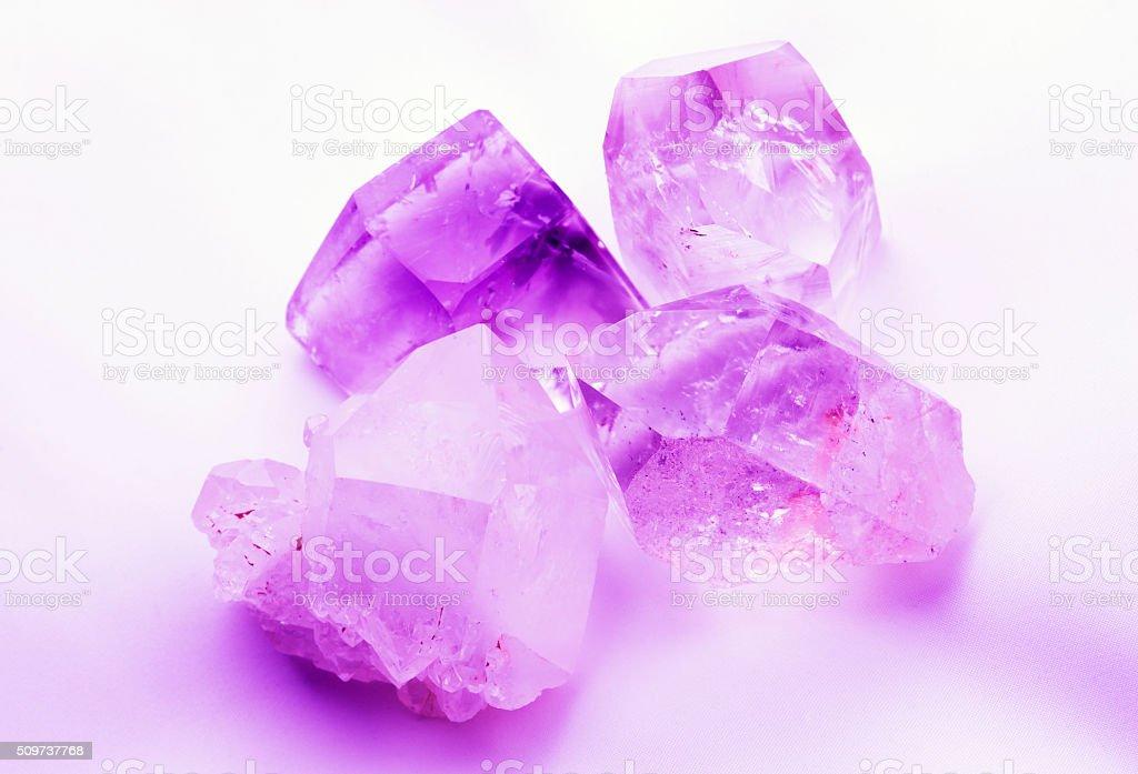 Mauve Amethyst colored quartz crystals stock photo